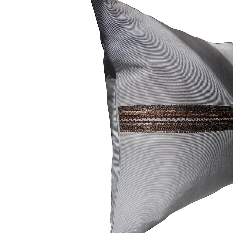 Contemporary Handcrafted Embroidered Chain and Metal Sequins Pillow Central Horizontal Stripe For Sale