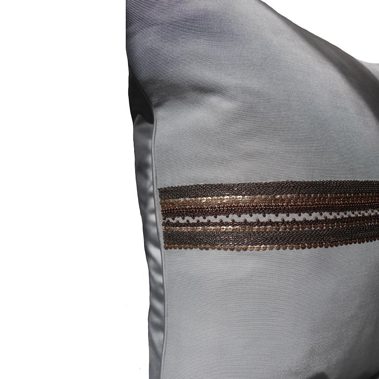 Fabric Handcrafted Embroidered Chain and Metal Sequins Pillow Central Horizontal Stripe For Sale