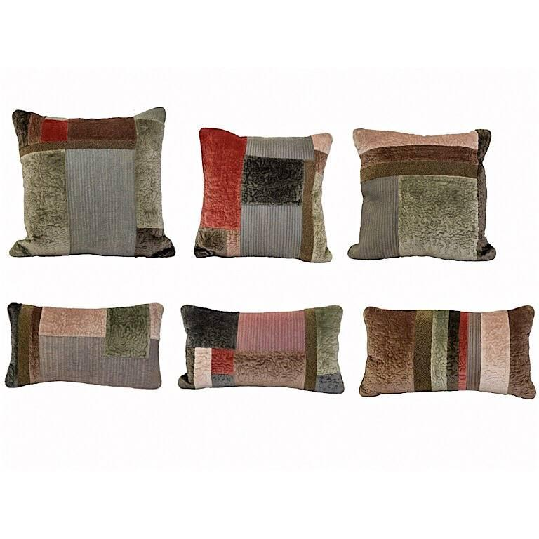 Hand embroidered pillows patchwork of hand quilted velvet embroidered with metallic small round glass beads silk and metallic threads. Graduated in size three larger square and three small rectangular pillows. Pale pink, pale green, raspberry pink