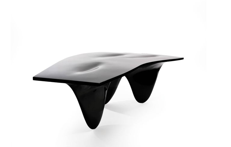 Modern Aqua Table by Zaha Hadid for Established & Sons in High Gloss Black For Sale