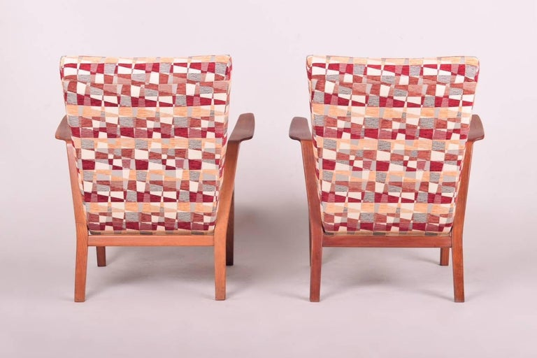 Mid-Century Modern Pair of Mid-Century Oak Armchairs, 1960s, Czechoslovakia For Sale
