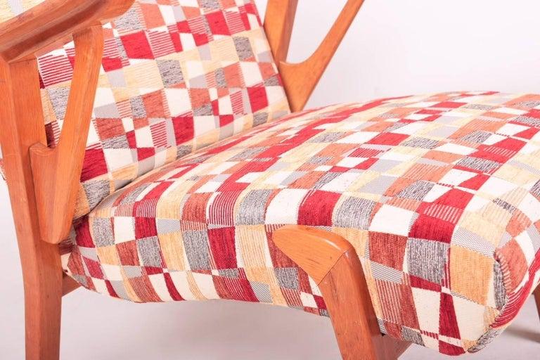 Fabric Pair of Mid-Century Oak Armchairs, 1960s, Czechoslovakia For Sale