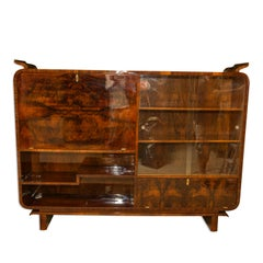 Very Elegant Library Cabinet, Bookcase Art Deco in Walnut, 1930s, Bohemia