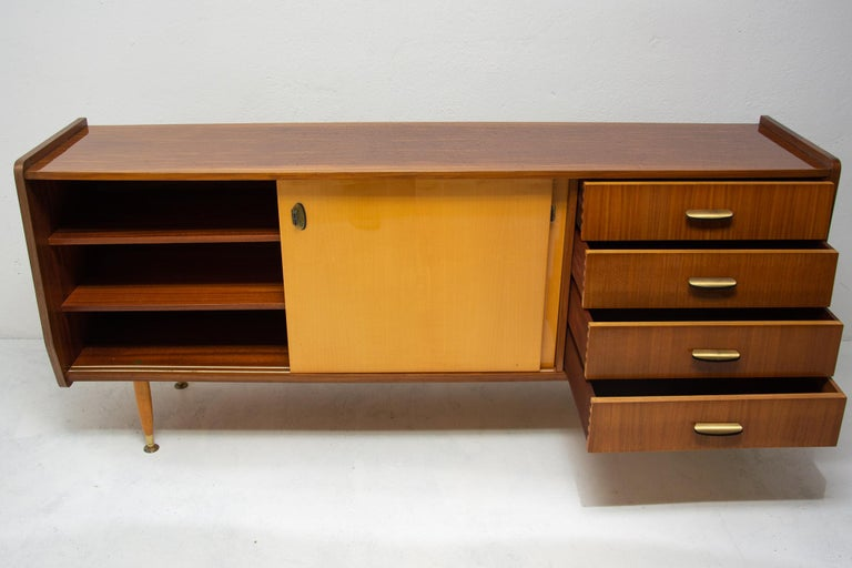 Metal Italian Midcentury Mahogany Sideboard from the 1960s For Sale