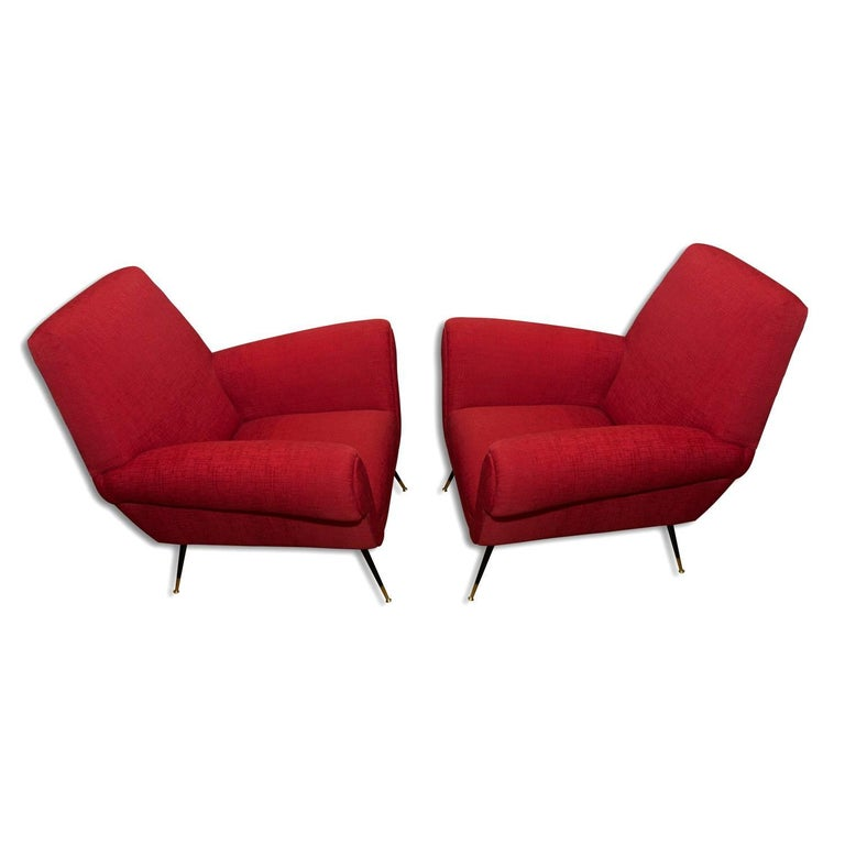 Midcentury Italian Armchairs by Gigi Radice for Minotti, Set of Two For Sale 1