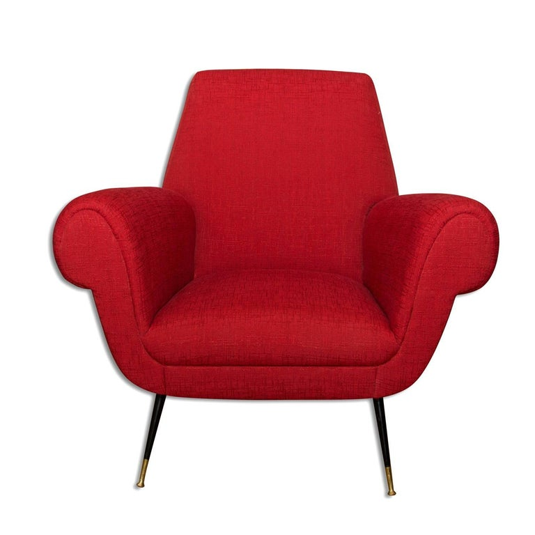 Mid-20th Century Midcentury Italian Armchairs by Gigi Radice for Minotti, Set of Two For Sale