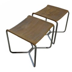 Pair of B8 Stools by Marcel Breuer, circa 1929, Probably by Thonet