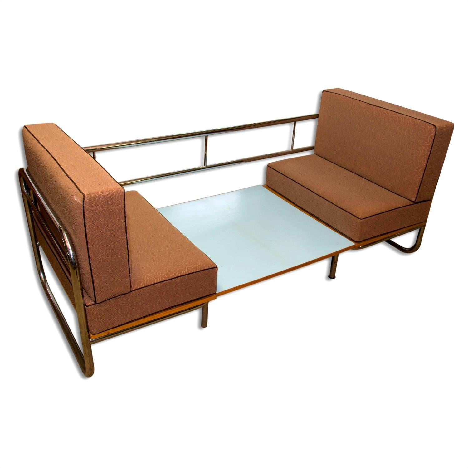 Bauhaus Exceptional Functionalist Multipurpose Seating Set Sofa Bed, 1950s  For Sale