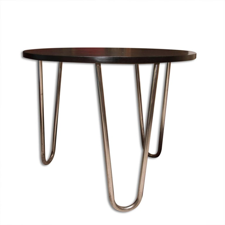 Mid-20th Century Bauhaus Chromed Coffee or Side Table in oak by Robert Slezak, 1930s, Bohemia