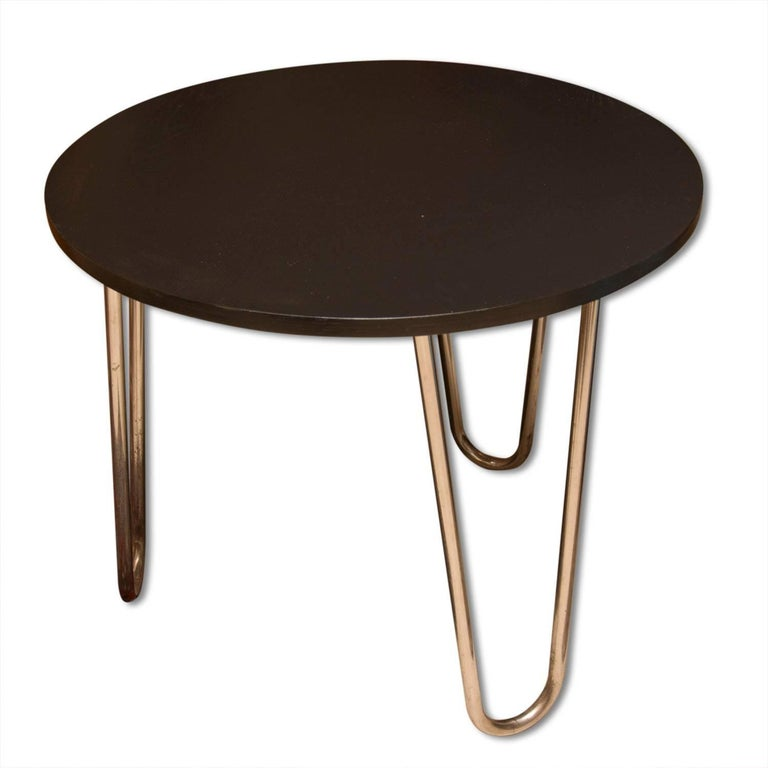Bauhaus Chromed Coffee or Side Table in oak by Robert Slezak, 1930s, Bohemia 4