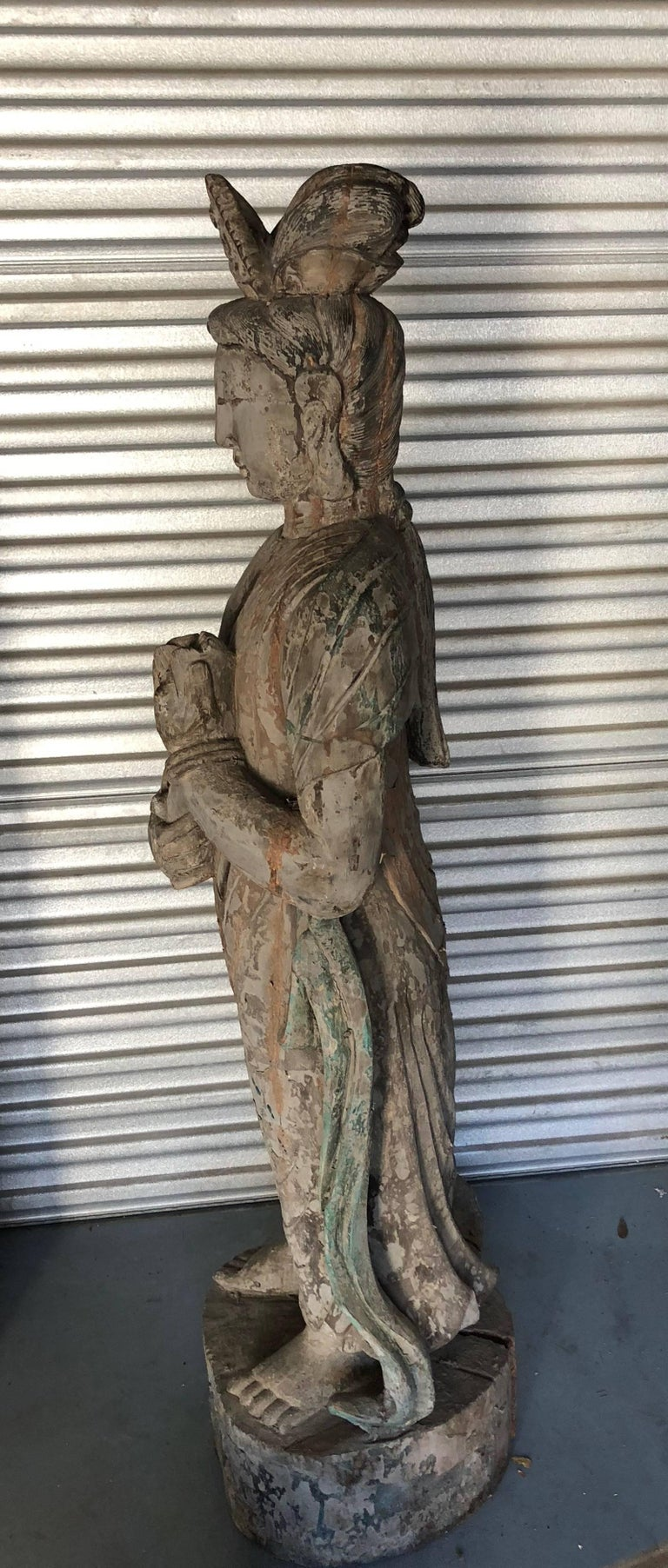 Ming Chinese Wooden Statue Guan Yin For Sale