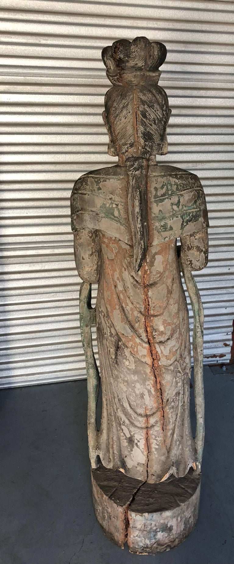 Hand-Crafted Chinese Wooden Statue Guan Yin For Sale