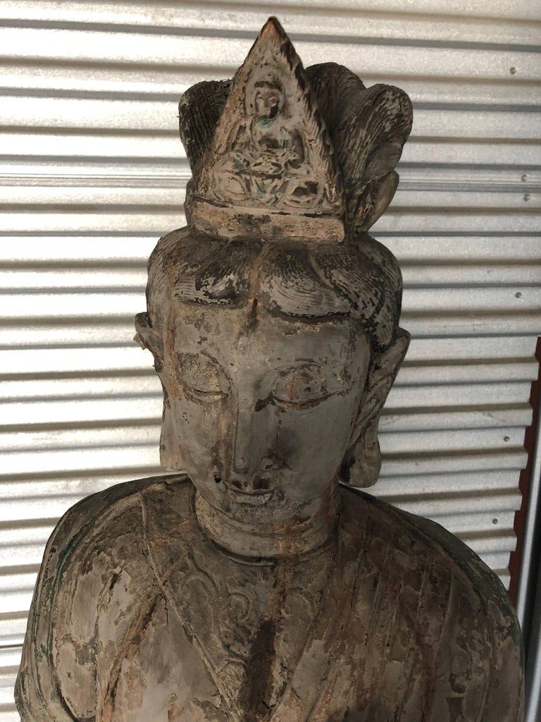 Chinese Wooden Statue Guan Yin In Excellent Condition For Sale In Sarasota, FL