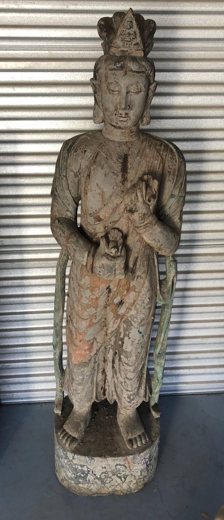 20th Century Chinese Wooden Statue Guan Yin For Sale
