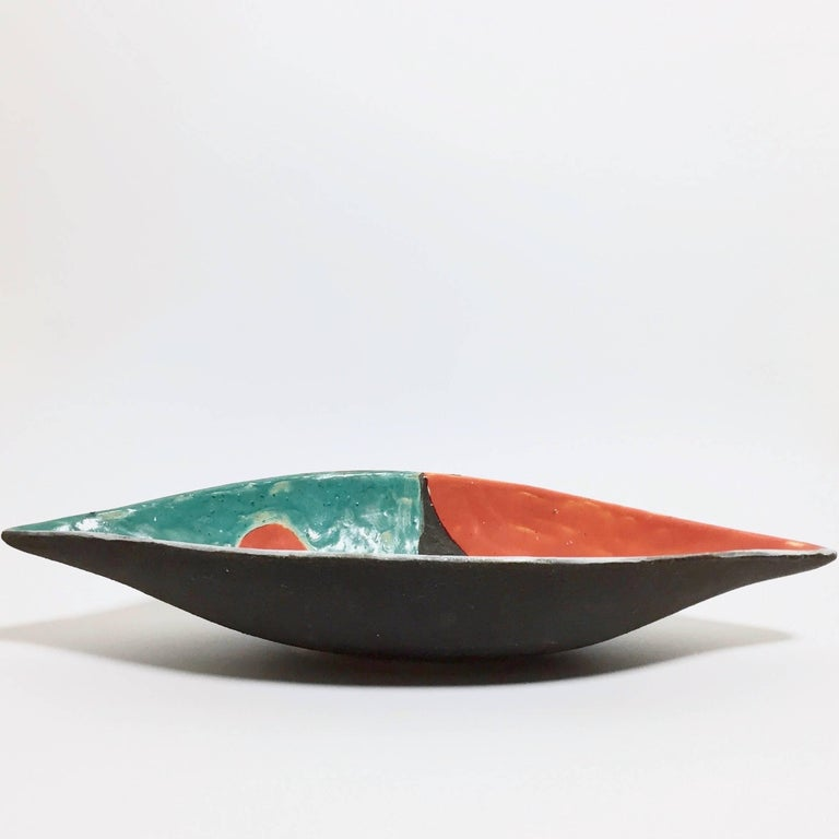 Enameled Gilbert Valentin - Mid Century Modern Ceramic Bowl For Sale