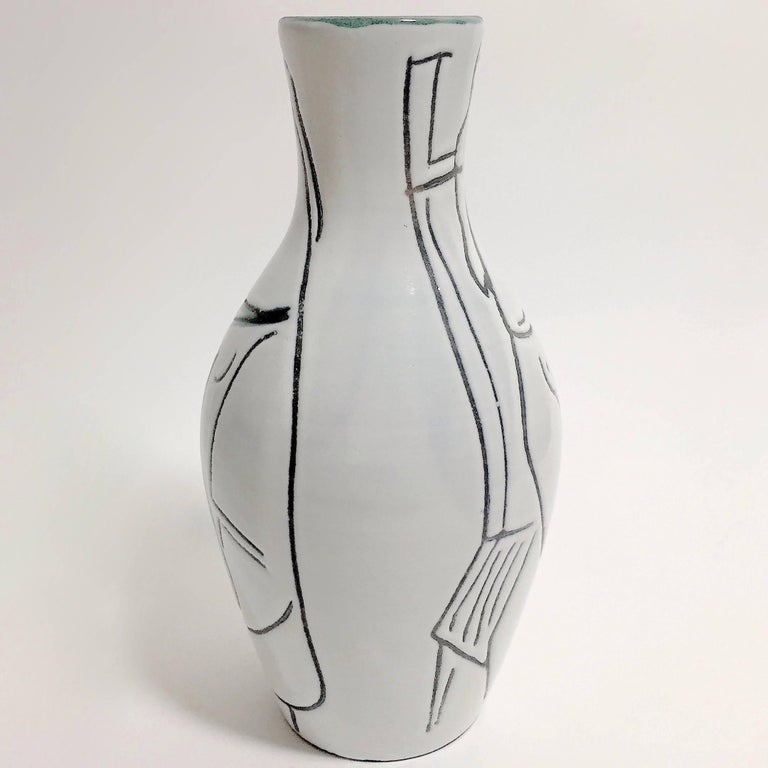 Enameled Jacques Innocenti, Black and White Ceramic Bottle Vase For Sale