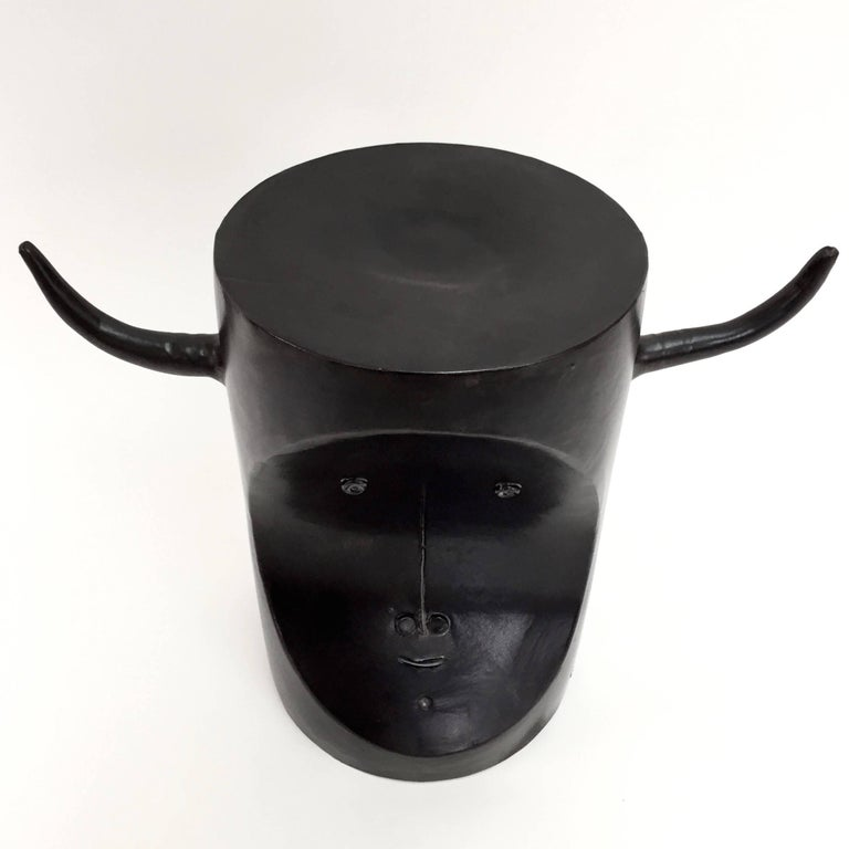 Enameled Robert and Jean Cloutier, Ceramic Bull Sculpture Glazed in Black For Sale
