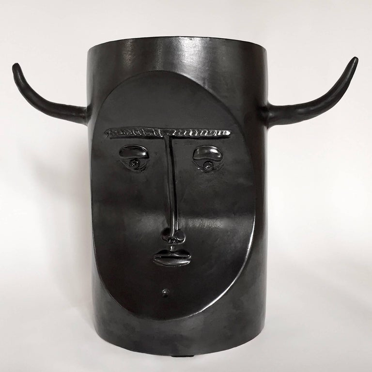 Robert and Jean Cloutier, Ceramic Bull Sculpture Glazed in Black For Sale 1