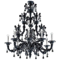Barovier & Toso Six-Light Taif Black Murano Glass Chandelier 5350/6C, in Stock