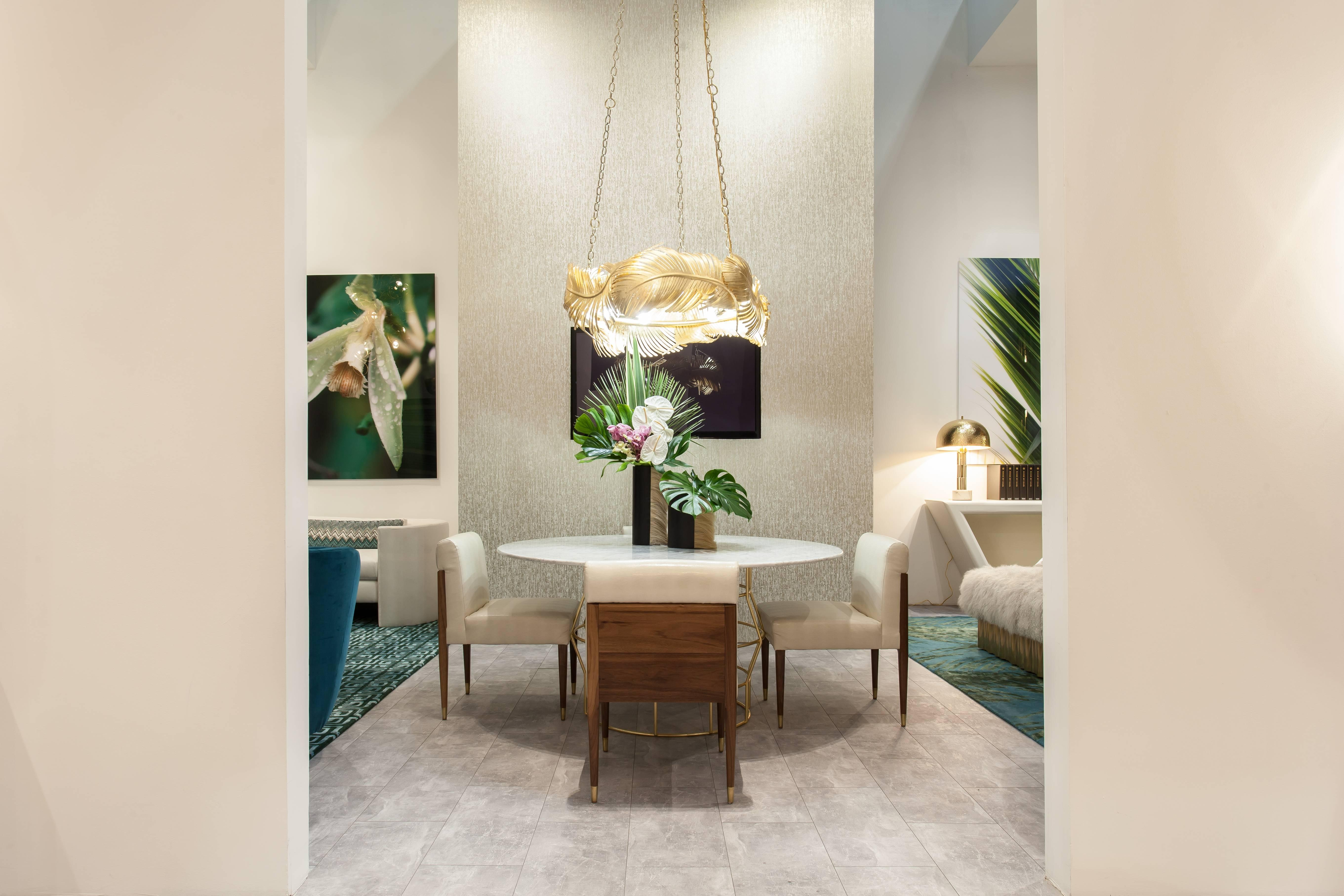 The Halston Dining Table Is A Modern Dining Table Made Of Gold Leaf Over  Iron With