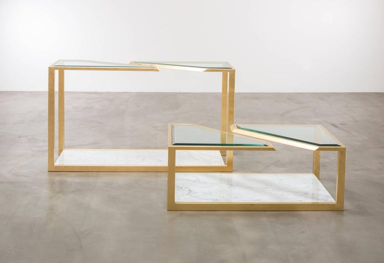 PIERRE COFFEE TABLE - Modern Carrara Marble Table with Gold Leaf over Iron In New Condition For Sale In Laguna Niguel, CA