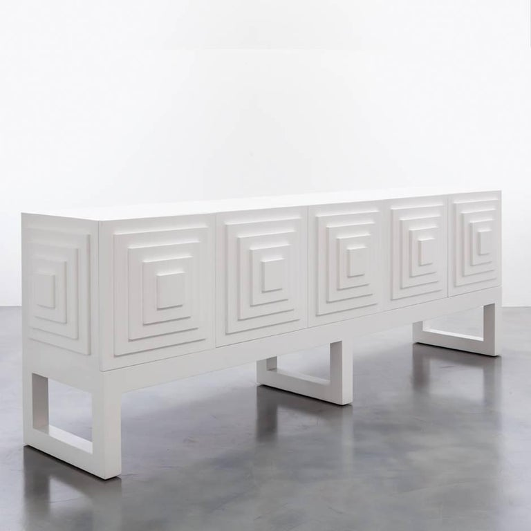 The Gaultier Buffet is a modern Buffet cabinet featuring a lacquered finish .  Fully custom and made to order in California.  As shown in Lacquer $11,550.00.