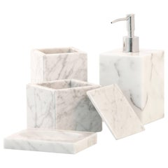 Squared Set for Bathroom in White Carrara Marble