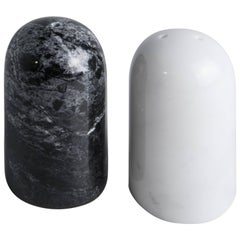 Black and White Rounded Salt and Pepper Set