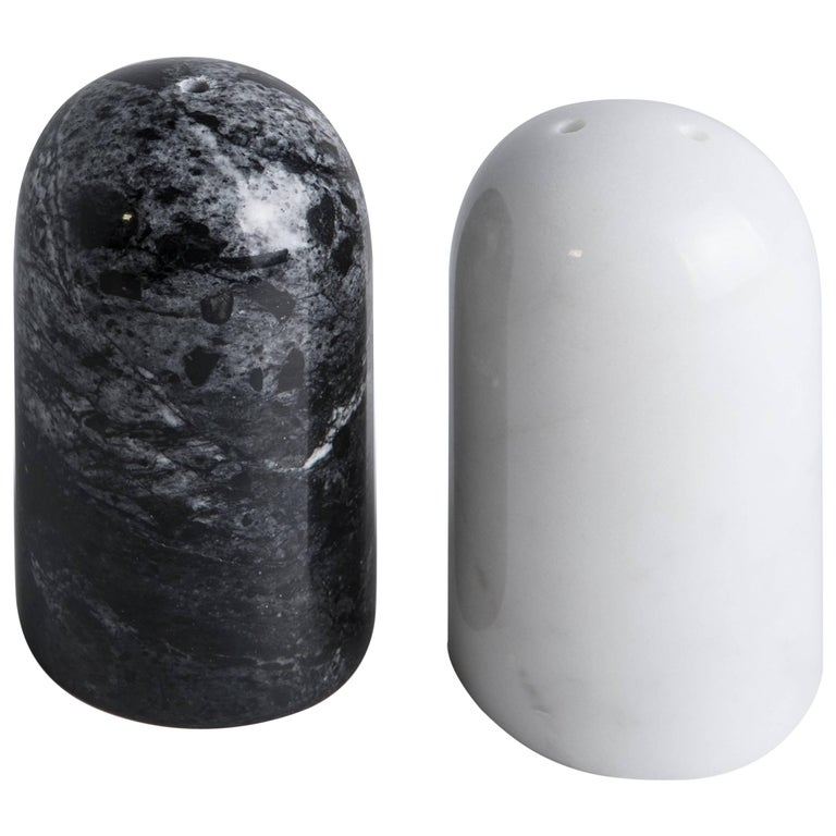Black and White Rounded Salt and Pepper Set For Sale