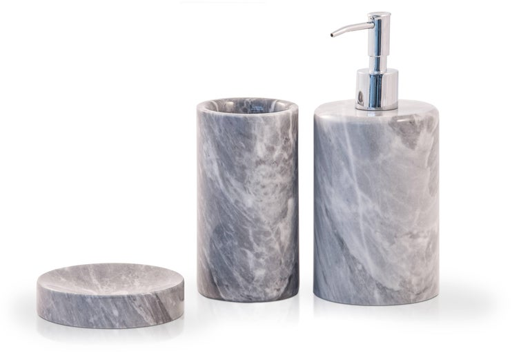 Hand-Crafted Rounded Soap Dispenser in Black Marquina Marble For Sale