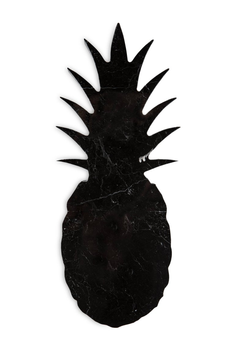 Italian Small Black Marble Paperweight with Pineapple Shape For Sale