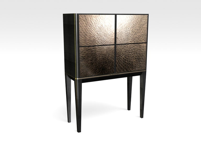 English Galaxy Drinks Cabinet, a Modern Piece, Hand-Carved and Gilded Bronze For Sale