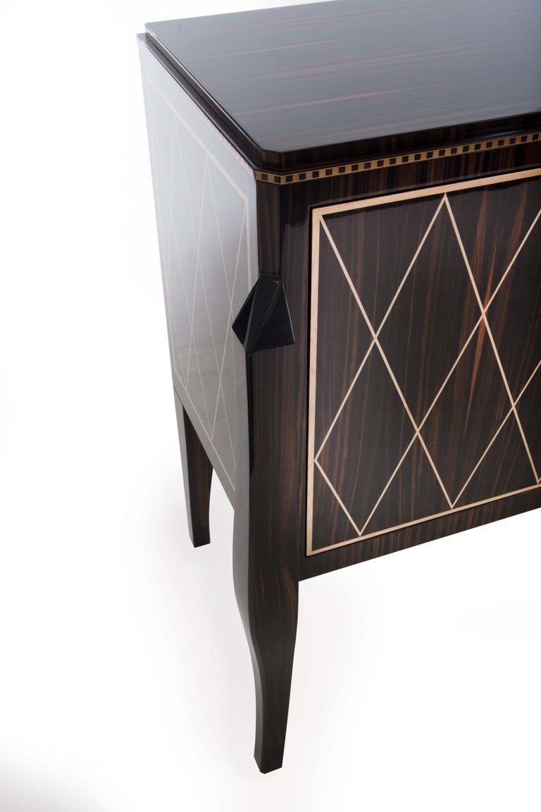 Contemporary Hudson Cabinet, a Modern Twist on a Regency Design, in Macassar Ebony & Sycamore For Sale