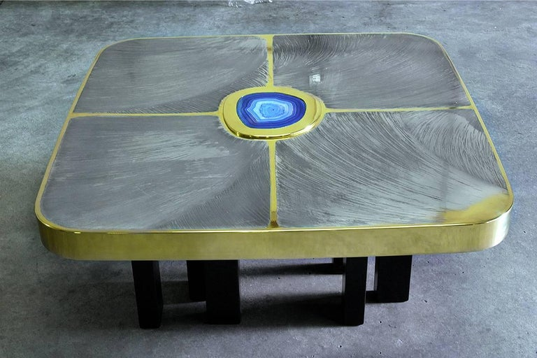 Modern Brass and Pewter Coffee Table with Blue Agate Stone