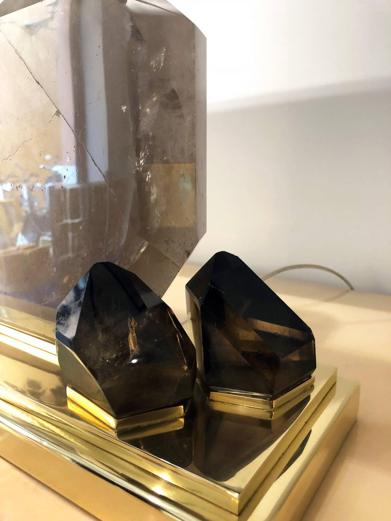 Italian Smoke Crystal Quartz and Brass Table Lamp For Sale