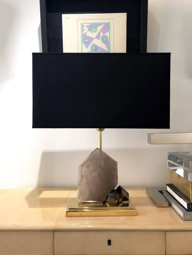 Cast Smoke Crystal Quartz and Brass Table Lamp For Sale