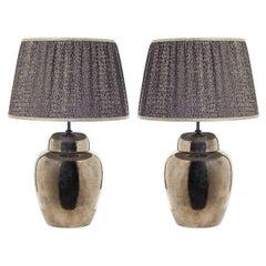 Pair of Sinuous Ceramic Table Lamps