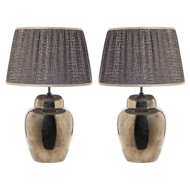 Pair of Sinuous Ceramic Table Lamps For Sale