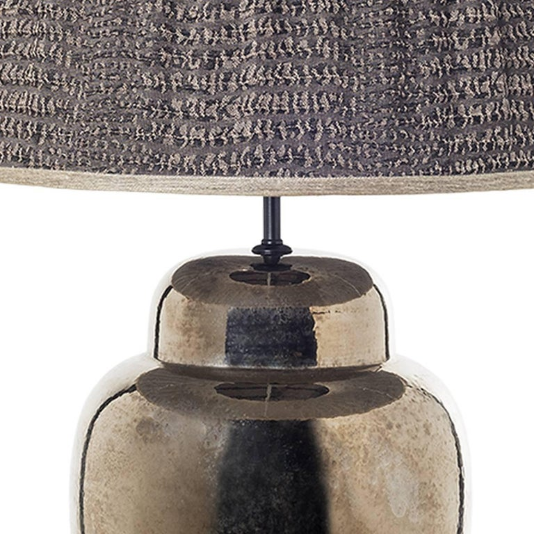 Glazed Pair of Sinuous Ceramic Table Lamps For Sale
