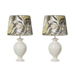 Pair of Striped Ceramic Table Lamps