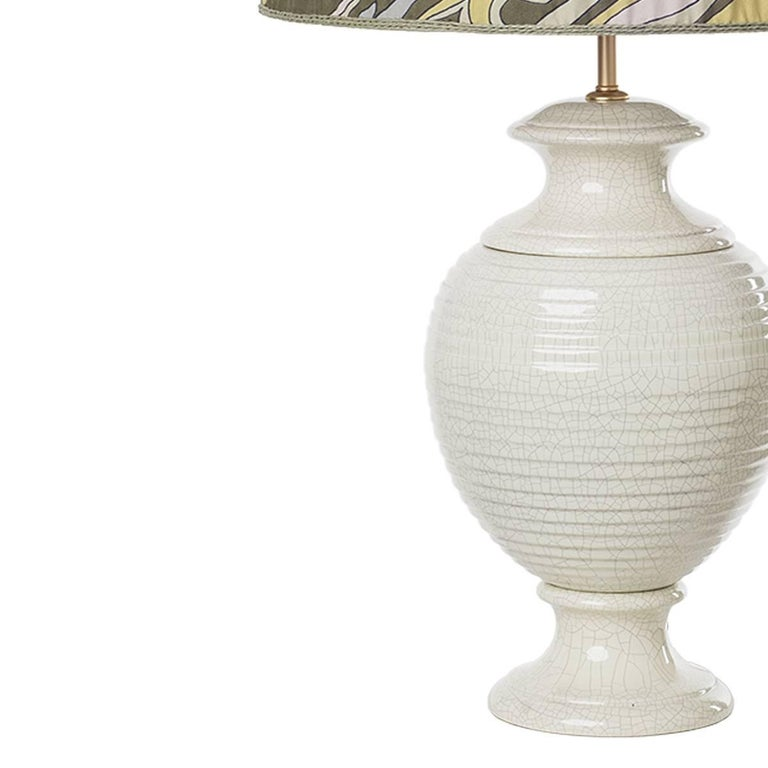 Glazed Pair of Striped Ceramic Table Lamps For Sale