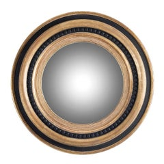 Large Round Wooden Mirror with Pearls Inlay