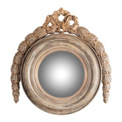 Large Round Wooden Mirror with Garland