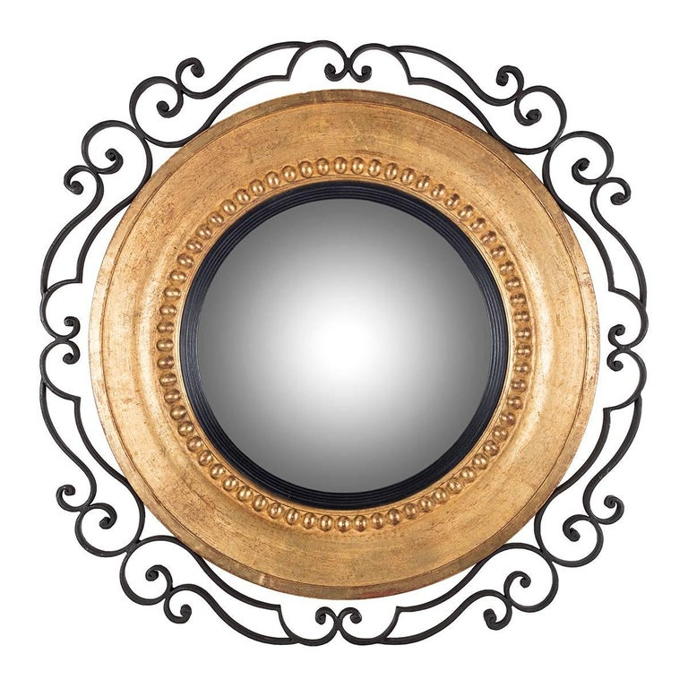 Large Round Wooden Mirror With Pearls Inlay And Curled Wrought Iron Decoration