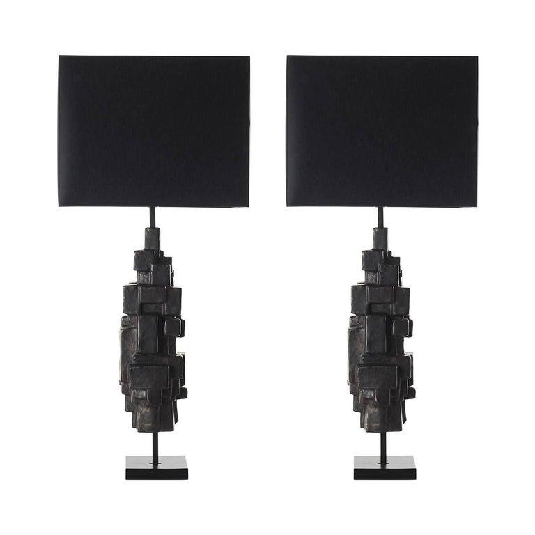 Pair of Sculptural Ceramic Table Lamp For Sale