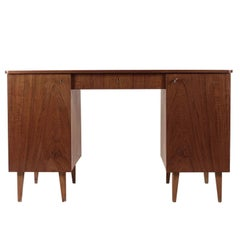 Retro Swedish Desk in Teak with Two Cabinets and Mid Drawer from 1950s