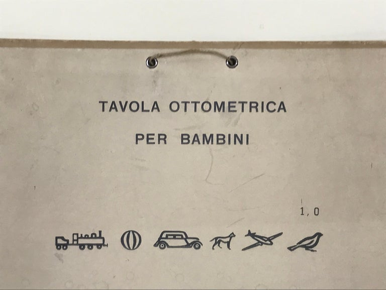 1950s vintage kids ophthalmology chart made in Florence by Magonio.