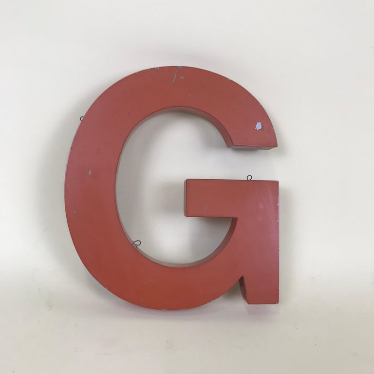 Industrial 1950s Orange Metal Vintage French Capital Letter G Sign For Sale