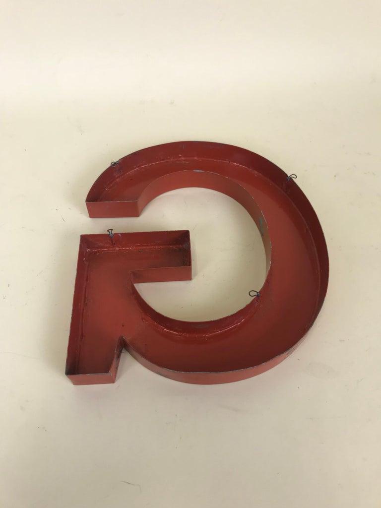 1950s Orange Metal Vintage French Capital Letter G Sign For Sale 4
