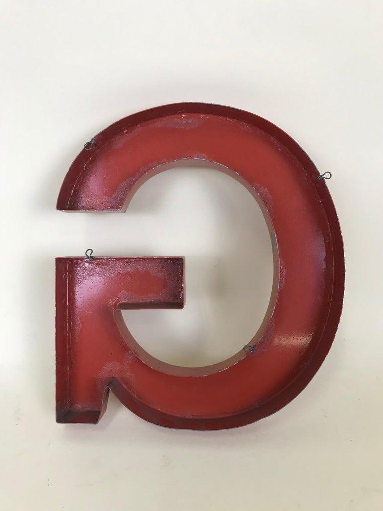 1950s Orange Metal Vintage French Capital Letter G Sign For Sale 6